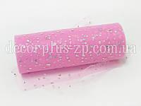 Фатин с пайетками 15см, розовый