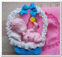 Молд силиконовый Младенец в Корзинке, фото 1