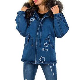 Джинсовая куртка с мехом зимняя женская со звездами (Европа), Синий