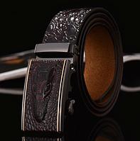 Мужской кожаный ремень с изображением крокодила пряжка автомат кофе