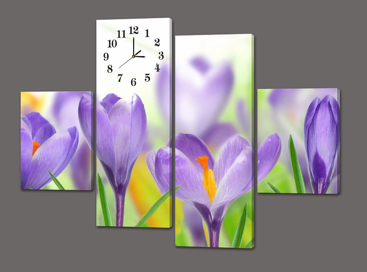 Модульная картина с часами Цветы 120*93 см(Код: 432.4к.120)