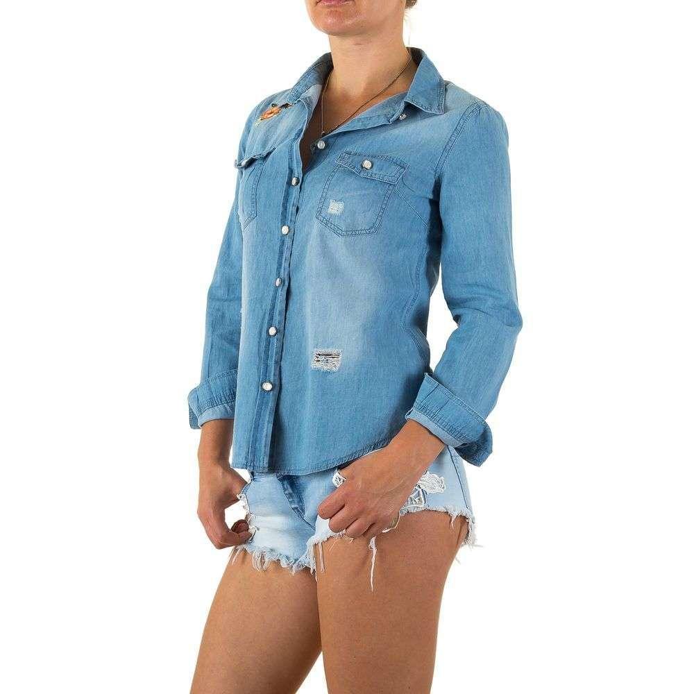 Джинсовая рубашка женская с вышивкой Realty Jeans (Европа) Голубой