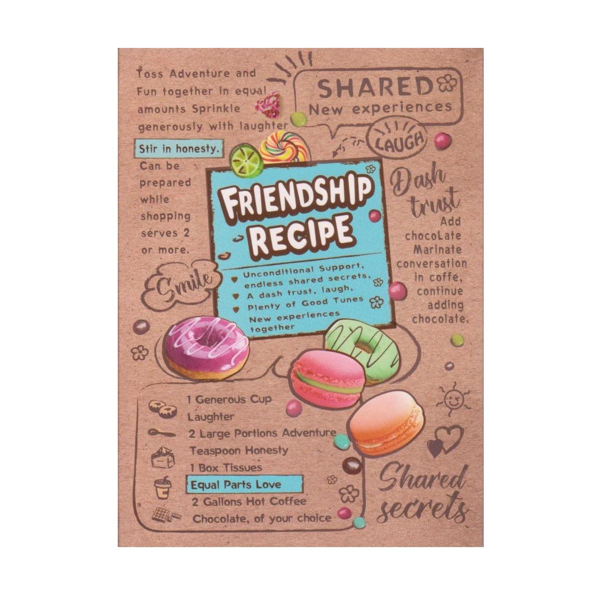 """Блокнот А5 интегральная обложка, 80 листов """"Friendship recipe"""" А-5089"""