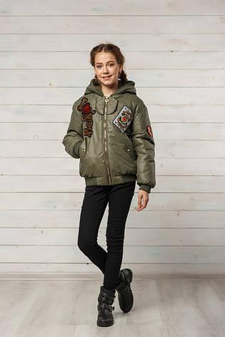 Детская демисезонная куртка для девочки Белла, цвет хаки, размеры 134-152, фото 2