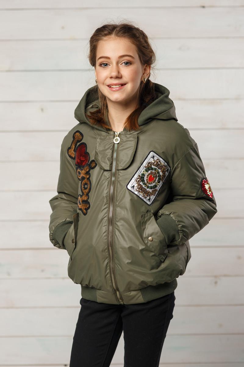 Детская демисезонная куртка для девочки Белла, цвет хаки, размеры 134-152