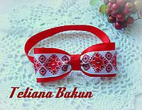 Галстук-бабочка для мальчика в этно стиле красный