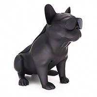 Портативная Bluetooth колонка собака Бульдог Dog Черная