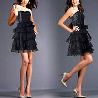 РАСПРОДАЖА! Вечернее черное мини платье без бретелек