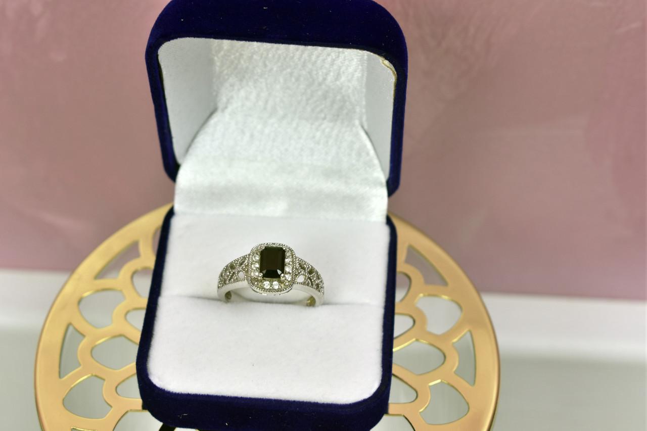 Серебряное кольцо с темно-синим турмалином
