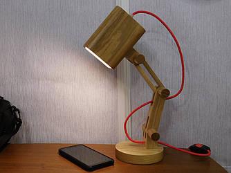 Настольная лампа, натуральное дерево ясень, первосортное дерево, loft
