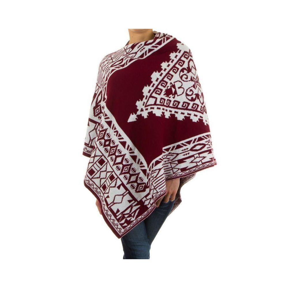 Женское пончо с этническим принтом H&L Fashion (Италия), Бордовый