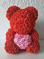 Мишка из роз, 40 см, в подарочной упаковке (коробке) красный, 3D Teddy Rose ручной работы