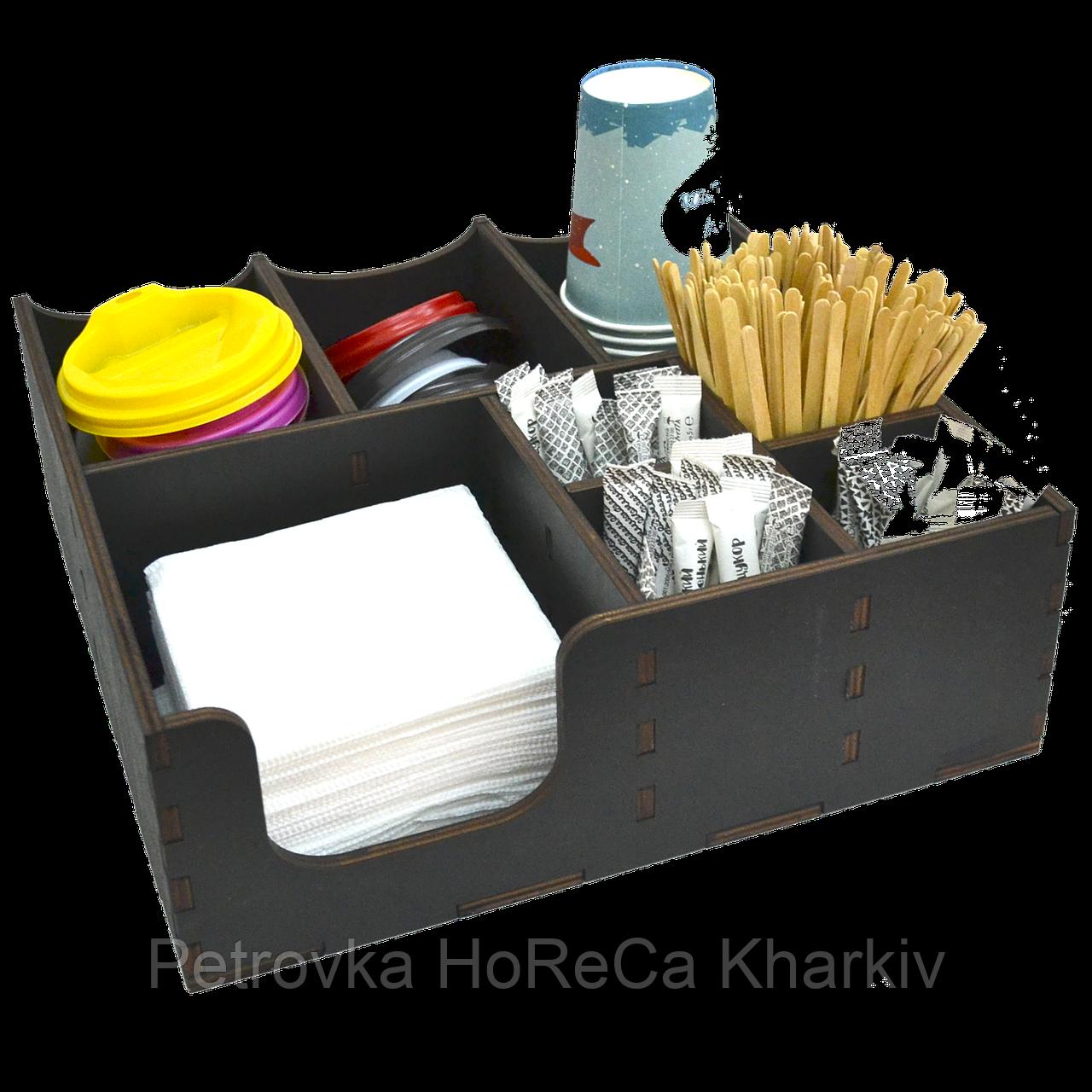 Органайзер деревянный чёрный с отверстиями д/крышек 30*30