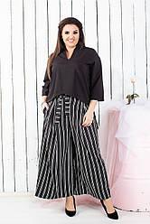 Женские брюки-кюлоты в полоску 0161
