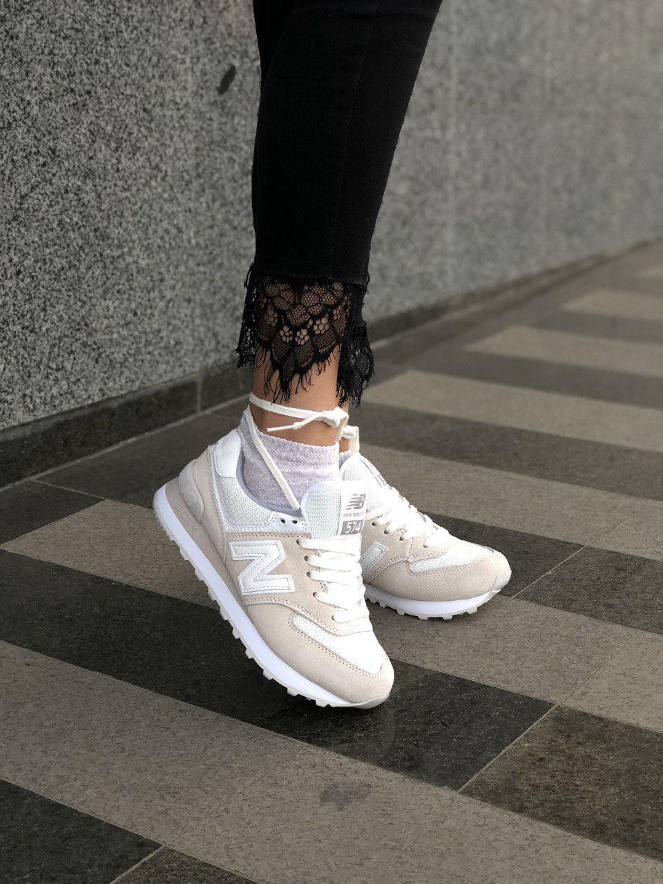 Стильные замшевые кроссовки New Balance 574 бежевые