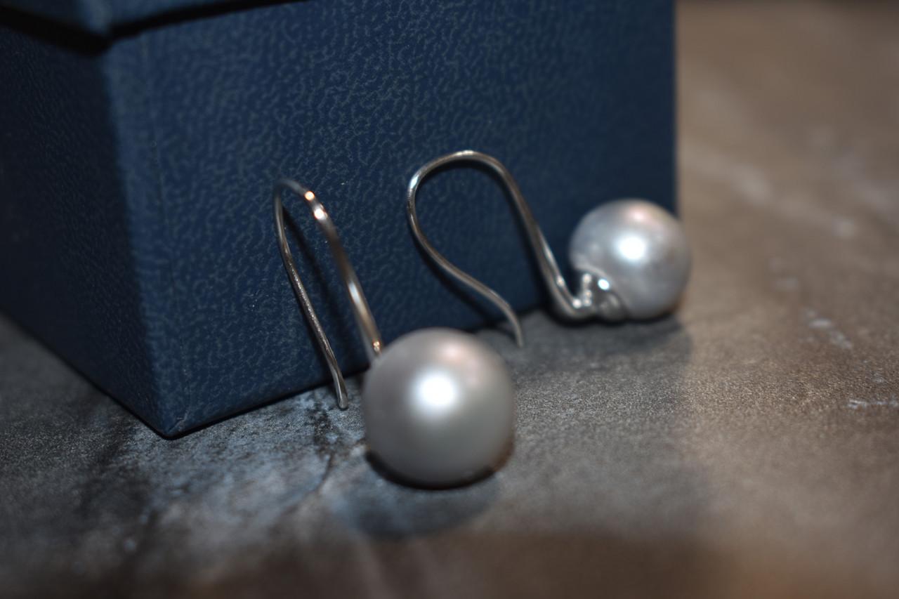 Серебряные серьги с жемчугом 925 проба