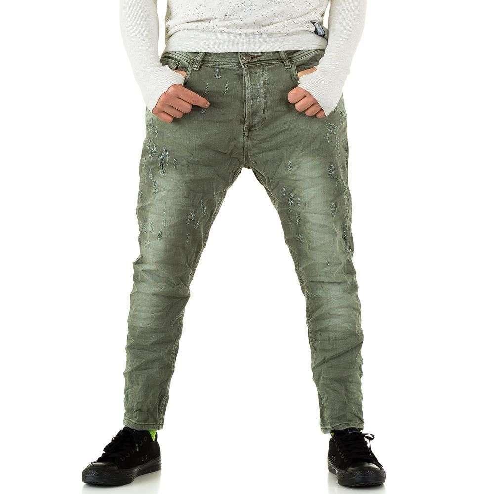 Мятые джинсы мужские с матней Y.Two Jeans (Италия), Зеленый