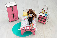 Мебель для кукольного домика Барби NestWood, бело-розовая (СПАЛЬНЯ)