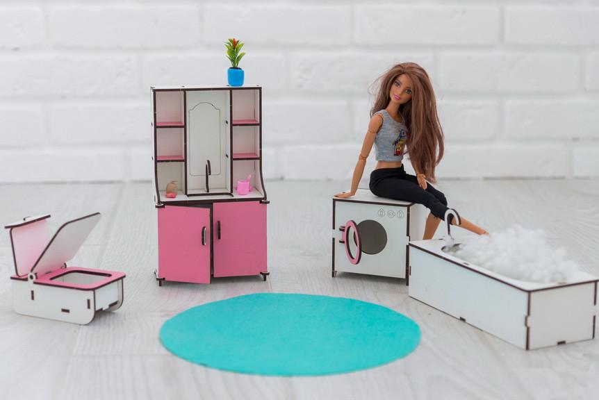 Мебель для кукольного домика Барби NestWood, бело-розовая (ВАННАЯ)
