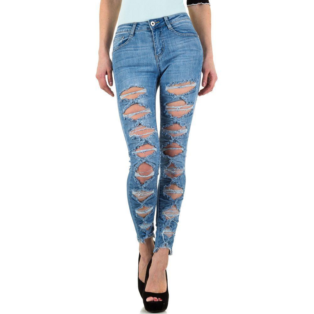10aa5ff0151e Женские джинсы рваные спереди производителя Goldenim (Франция), Синий  купить оптом в ...
