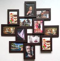 Фоторамки на 12 фото коллаж (дерево) 70*70 см фотоколлаж мультирамка для фото ФР0007