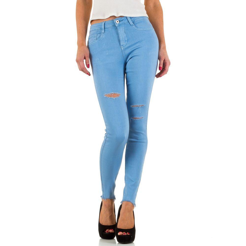 Женские джинсы скинни рваные производителя Goldenim (Франция), Голубой