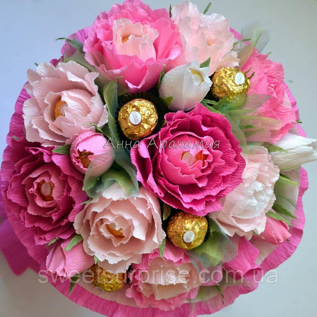 Букет из букв с цветами на магните для мамы
