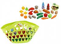 Большая корзина с продуктами игрушечная, 27 аксессуаров