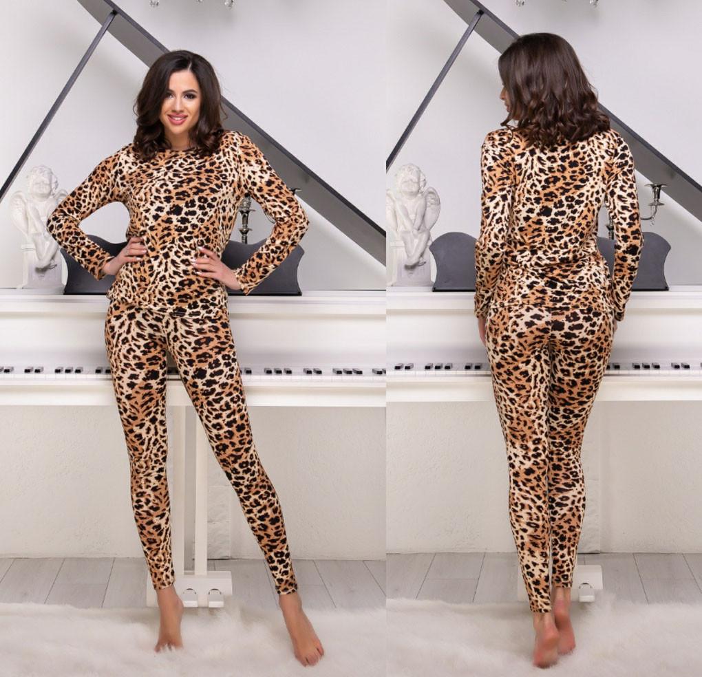 """Женский домашний комплект-пижама с леггинсами до больших размеров 184 """"Хлопок Леопард"""""""