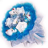 Букет из мягких игрушек Котики 3 с розами голубой 5074