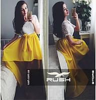 Шифоновая асимметричная юбка со шлейфом