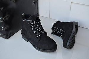 36р - 23см Черные женские ботинки эко нубук теплые зимние