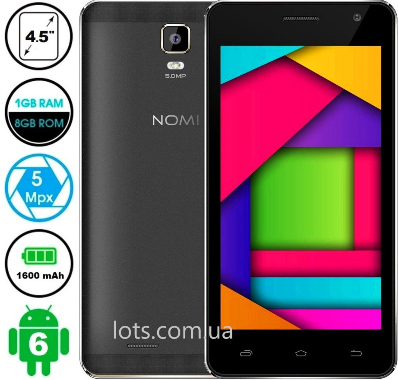 Смартфон Nomi i4510 1/8Gb Grey (Темно-серый)