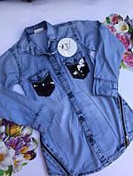 Джинсовая рубашка для девочек от 3 до 7 лет