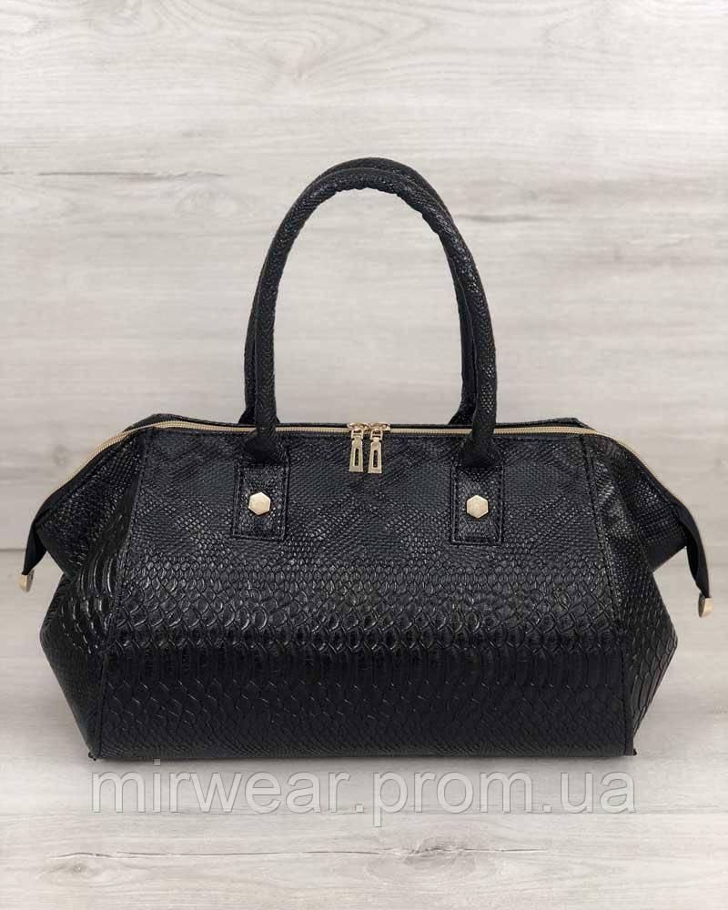 0dde458ec03d Классическая женская сумка Оливия черная рептилия - Mir Wear в Одессе