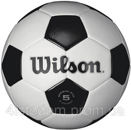 Мяч футбольный Wilson Traditional sb white/blue/silver size 5, фото 2