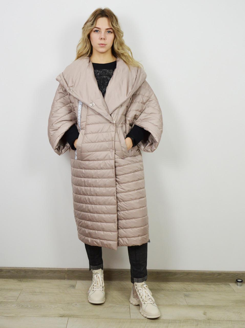 Пальто-одеяло женское бежевое Alberto Bini 30145