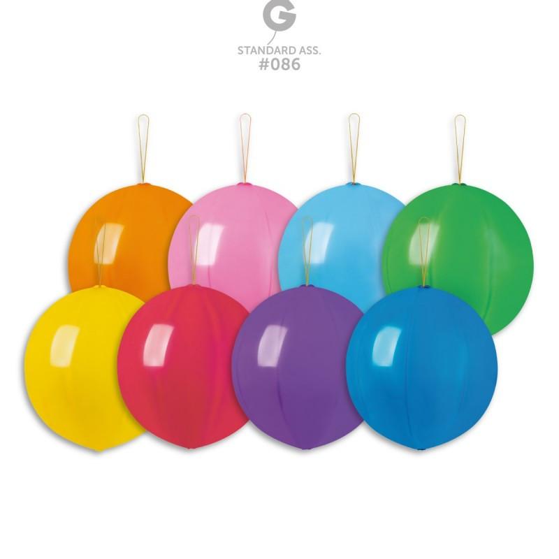 Воздушные шары Gemar,расцветка: Пастель ассорти без рисунка, форма: шар арбуз Панч-болл, Диаметр 45 см, 50 шт.