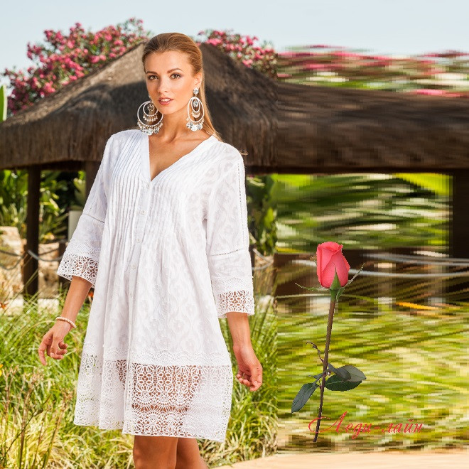 858ba6a6932 Летнее белое платье свободного кроя из хлопка 1360 - Интернет-магазин Леди-лайн  в
