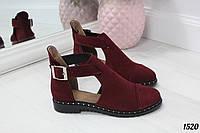 Туфли Zaro на низком ходу с ремешком бордовые. Натуральный замш, фото 1