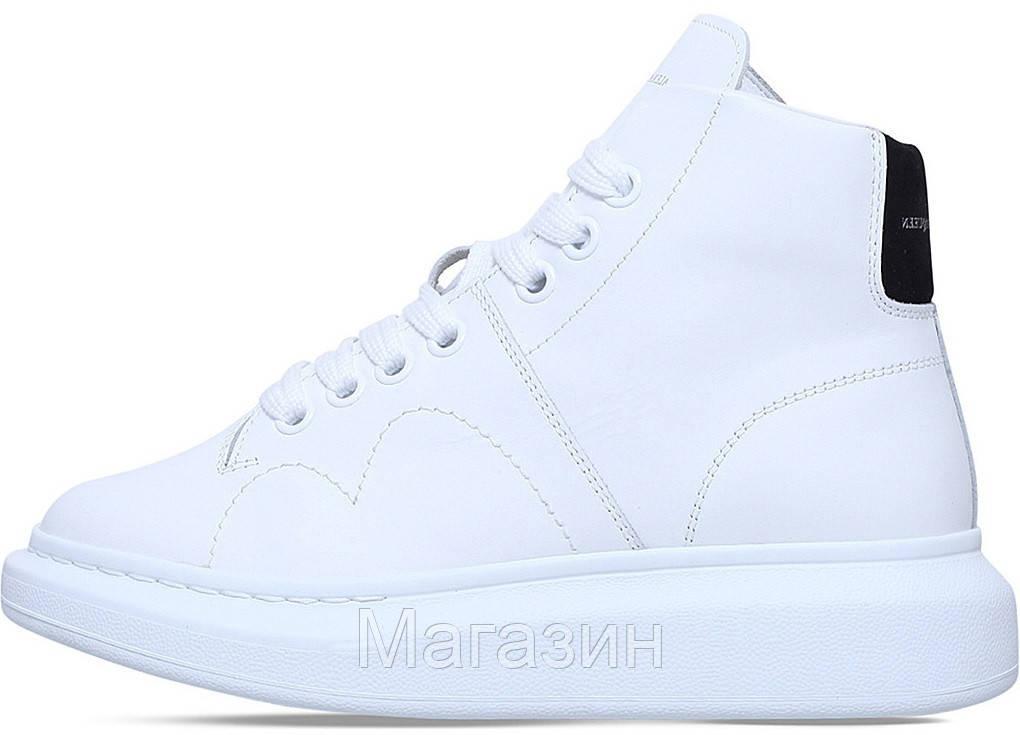 Женские высокие кроссовки Alexander McQueen Larry Leather High Top White Александр Маккуин в стиле  белые