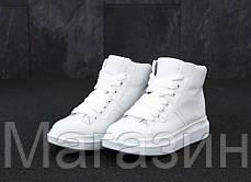 Женские высокие кроссовки Alexander McQueen Larry Leather High Top White Александр Маккуин в стиле  белые, фото 3