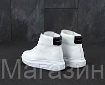 Женские высокие кроссовки Alexander McQueen Larry Leather High Top White Александр Маккуин в стиле  белые, фото 2
