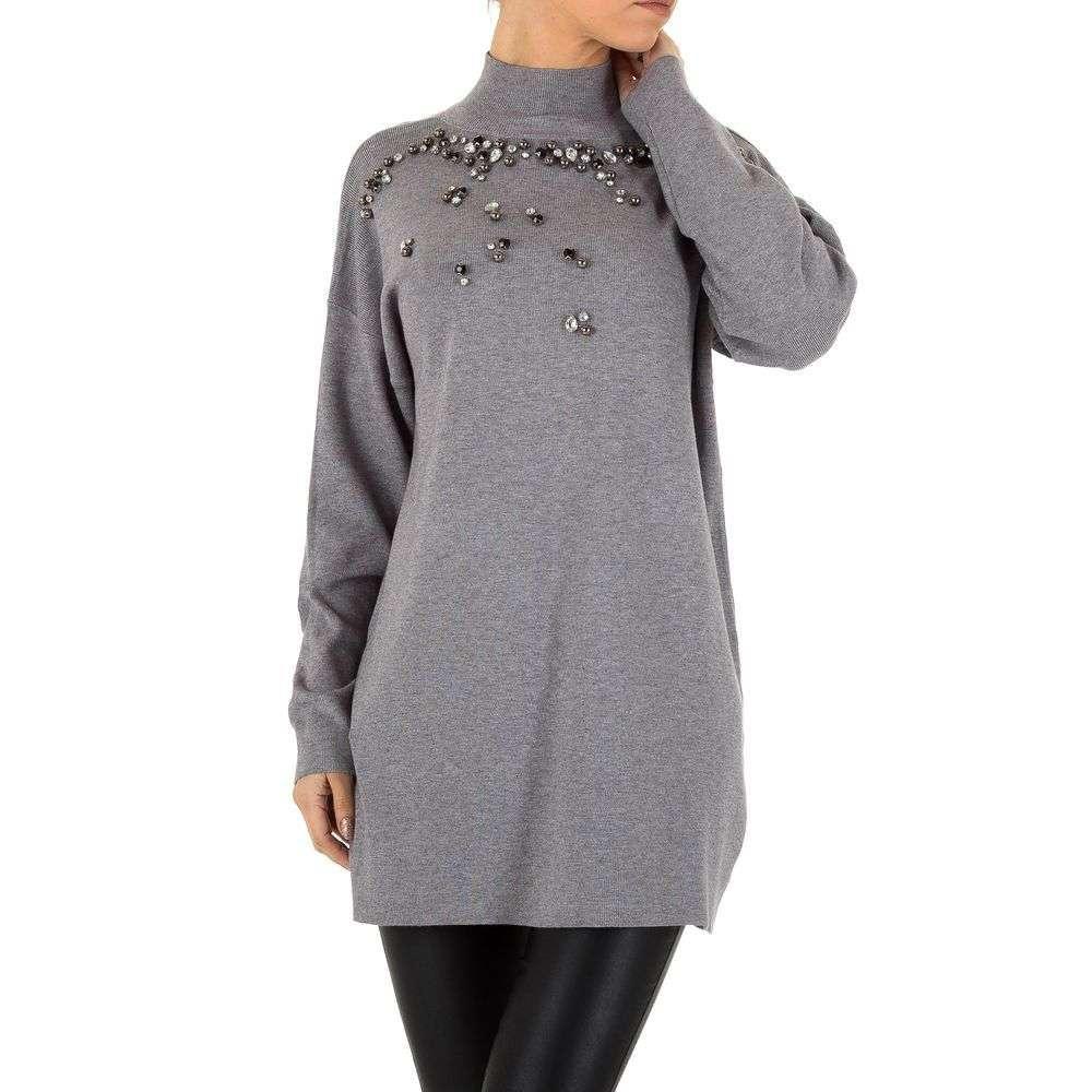 Женский свитер удлиненный с бусинами и камнями (Европа), Серый