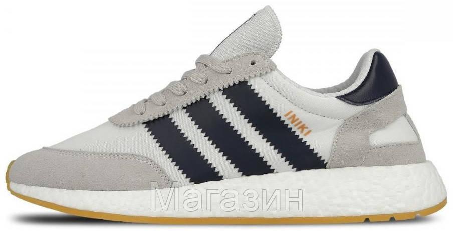 Мужские кроссовки Adidas Iniki Runner Boost Grey спортивные Адидас Иники серые