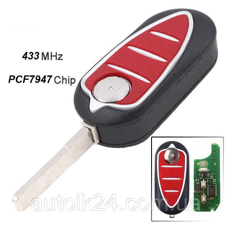 Выкидной ключ Alfa Romeo 3 кнопки 433Mhz chip id46 PCF7947