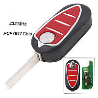 Выкидной ключ Alfa Romeo 3 кнопки 433Mhz chip id46 PCF7947, фото 1