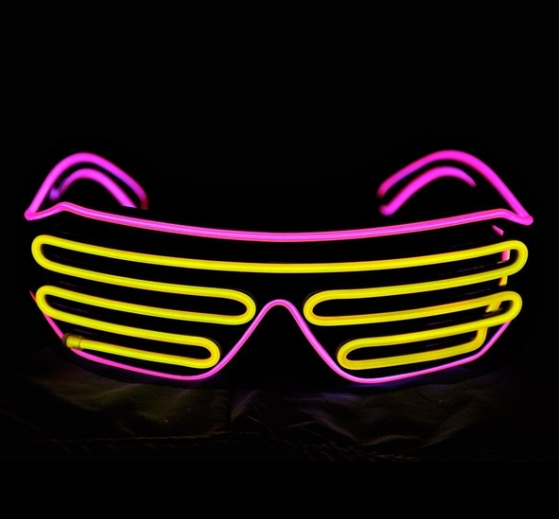 Очки светодиодные El Neon spiral purple yellow неоновые