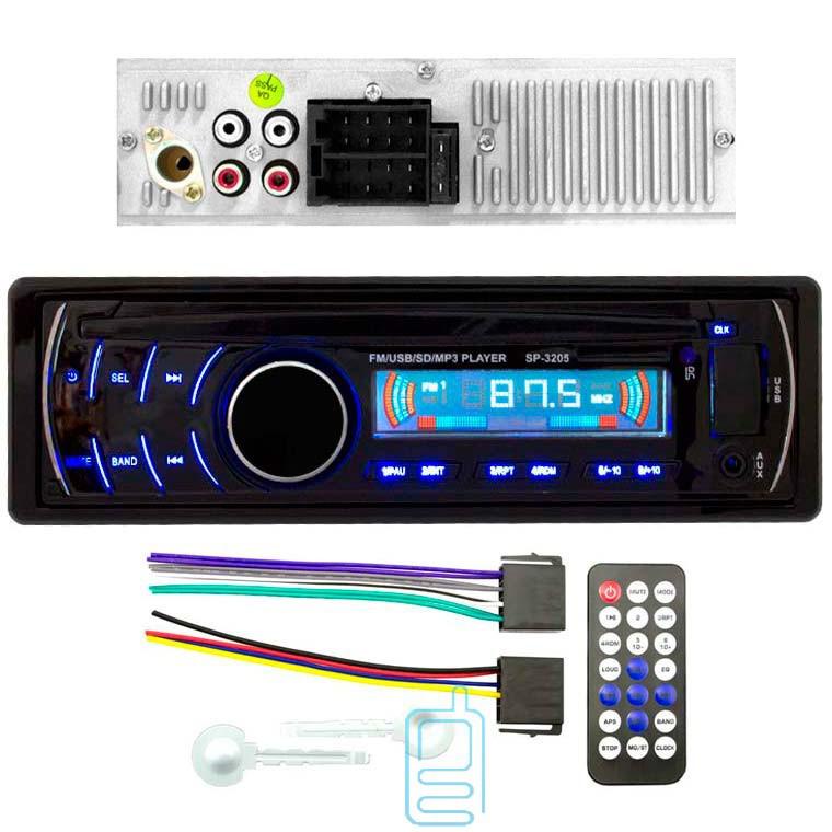 Автомагнитола популярная сенсорные кнопки SP-3205 ISO съемная синяя панель USB SD сони
