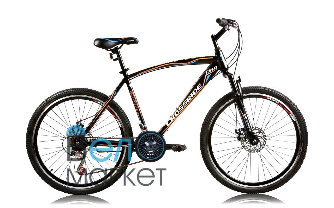 """Велосипед горный Crossride CR 1.0 Spark 26"""" Колесо19"""" рама (Черный) подростоково-взрослый"""